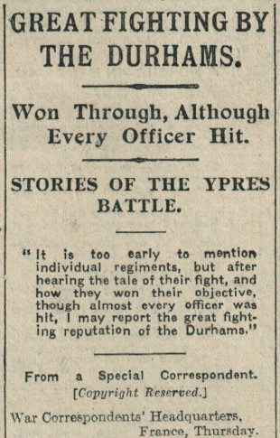 BATTLE REPORT: How The Northern Echo of August 3, 1917, reported the battle in which Sgt TM Fletcher was killed. Six days later, the Echo carried a line saying Fletcher, who worked as a railway clerk in Newcastle, had been injured