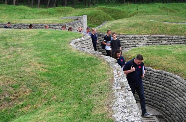 FOLLOWING FOOTSTEPS: The cadets walk through preserved First World War trenches at Vimy Ridge
