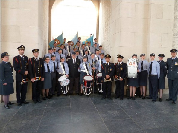 ALL TOGETHER: The cadets, with commanding officer Flt Lt Rachel Mason, far left, at the Menin Gate