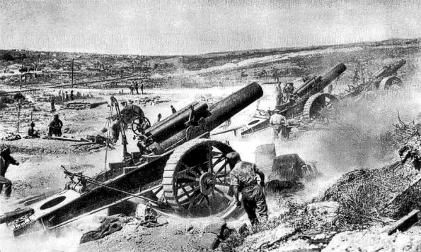 ON THE SOMME: The 39th Siege Battery of the Royal Garrison Artillery in action, probably near Mametz, in 1916