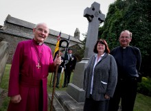 NEVER FORGOTTEN: The Right Reverend Mark Bryant, Bishop of Jarrow, left, joins Father Michael Gobbett and Julie Hall, chairwoman of Bishop Middleham Parish Council, at the re-dedication service of the war memorial at St Michael's Church, in Bishop Middleham. Picture: DAVID WOOD