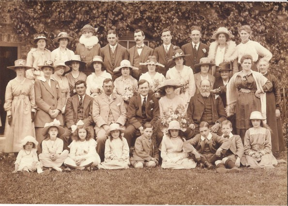 FAMILY WEDDING: A magnificent picture taken at Cargott Farm, Great Burdon, near Haughton-le-Skerne, on June 1, 1921, showing the wedding of Thirkell Dougill and Annie Blair – the happy couple are at the centre of the first seated row. Third from the right on the back row is Thomas Bamlett, who was shot through the neck in the First World War. Next to him is his mother, who lost two of her other sons in the war