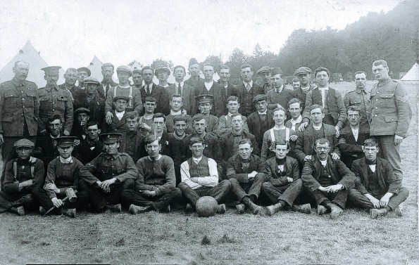 ON THE BALL: The Northumberland Fusiliers, with Lance Cpl John Robinson on the third seated row from the front, third from the right