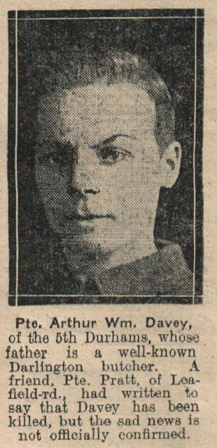 WAR VICTIM: Private Arthur Davey, of Ridsdale Street, Darlington