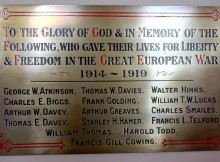 IN MEMORY: The plaque at St Herbert's Church, Yarm Road, Darlington, carrying the names of 15 men from Darlington who died in the First World War