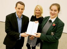 COMPETITION WINNER: Poetry competition winner Olivia Skilbeck (14, RIGHT) receives her prize from Paul Ketley with staff member Gill Leight from Sedgefield Community College. Picture: DAVID WOOD