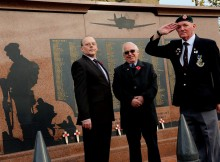 LEST WE FORGET: Chairman Jim Carroll, left, with fellow members John Adey and Alan Summerson, right, from the Chester-le-Street War Memorial Group. Picture: DAVID WOOD