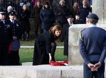 FALLEN HONOURED: Jenny Chapman MP lays at wreath at the cenotaph in Darlington