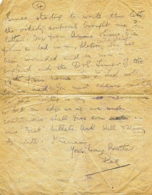 LETTER HOME: One of Reg's letters from the trenches to his sister Nellie in High Northgate, Darlington