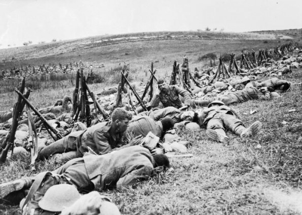AT EASE: Soldiers from the Royal Warwickshire Regiment resting up during the Battle of the Somme