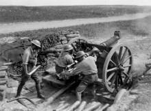 ON THE FRONTLINE: Men of the New Zealand army manning an artillery position in Beaussart in 1918. During a German bombing raid on British artillery in the same village two years earlier, Private Arthur Armstrong of Crook became 18DLI's first casualty on foreign soil