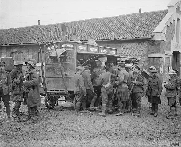 RESPITE: Soldiers get refreshments from a mobile stall at Auchonvillers during the Battle of the Somme
