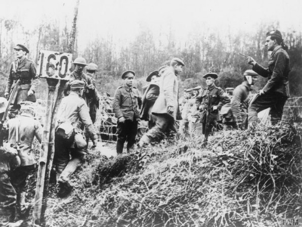 HEAD COUNT: British soldiers from the 51st Highlanders counting German prisoners captured at Beaumont Hamel