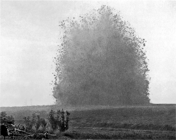 FEARSOME: The explosion of the mine at Hawthorn Ridge on the first day of the Battle of the Somme. The Durham Pals were stationed at Auchonvillers while the tunnels were being dug beneath Hawthorn Ridge