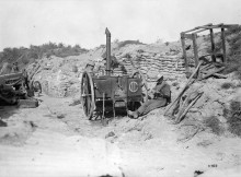 TARGET: A Canadian field kitchen from September 1917. During the Durham Pals' stay at Colincamps, German artillery scored a direct hit on D Company's field kitchen, killing four horses and destroying the equipment