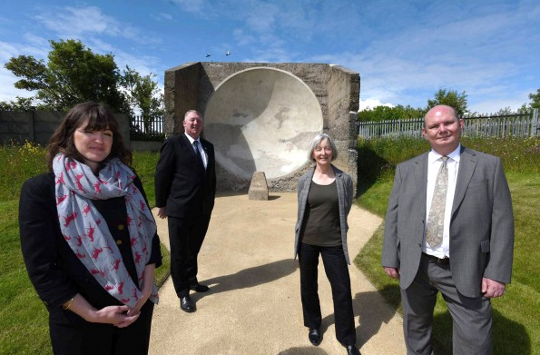 SHINING: From left, Ellen Creighton, Heritage Lottery Fund, Cllr John Kelly Sunderland City Council portfolio holder for public health, wellness and culture, Kate Wilson, Historic England, and Tony Devos, Limestone Landscape