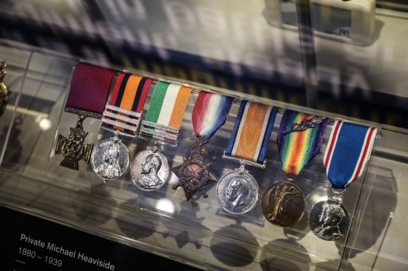 Medals of Private Michael Heaviside VC on display at the new DLI exhibition at Palace Green, Durham City. Picture: TOM BANKS