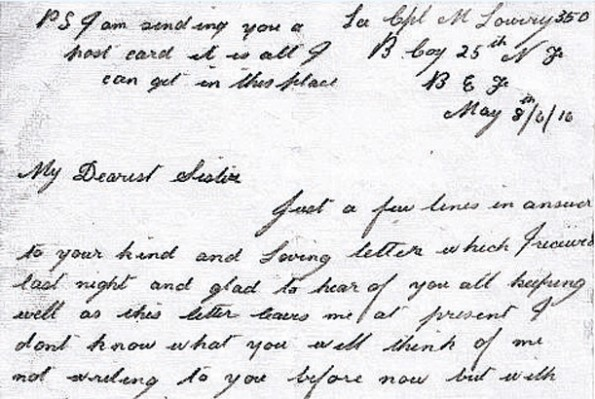 LETTERS HOME: Michael Lowery's letter home to his sister, Sarah, on May 8, 1916
