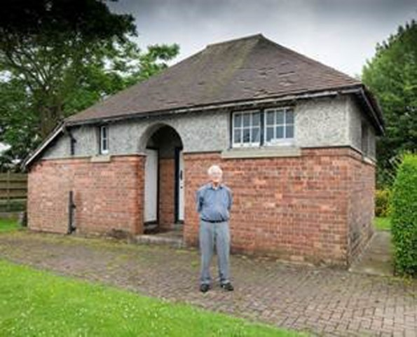 The first World War wireless station in Stockton, which has been Grade-II listed. Owner Donald Yeaman in front of his historically-significant home.