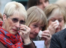 Tears during the service of dedication at Wheatley Hill Cemetery.