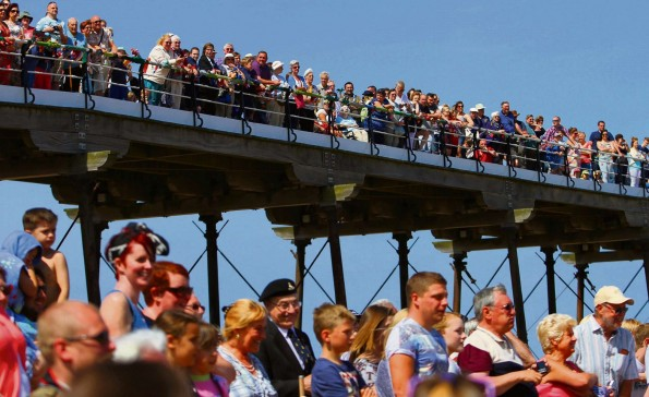 GRANDSTAND VIEW: Saltburn Pier provides a grand view of the footballing action