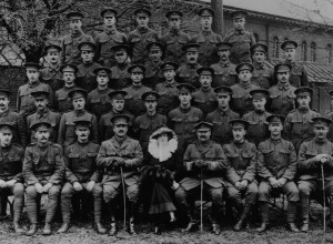 The Earl and Countess of Feversham with officers, NCOs and men who enlisted in the 21st King's Royal Rifles Corps from Helmsley, before they left for active service in May 1916