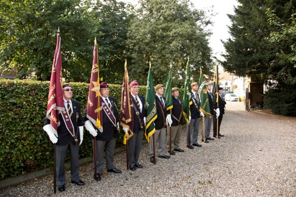 HONOUR: Standard bearers at the memorial ceremony for Archie White VC