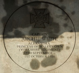 MEMORIAL: The stone at Hall Square, Boroughbridge honouring Archie White VC