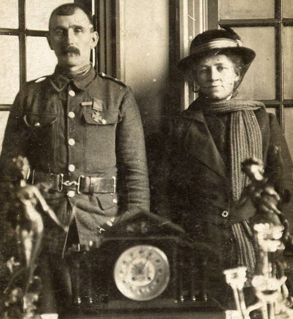 WHEATLEY WORTHY: Private Thomas Kenny with his wife, Isabel, receiving gifts at his old school in 1916.