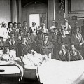 WOUNDED: Patients and nurses at County Hall, Northallerton
