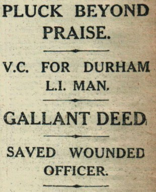 MAKING THE NEWS: From The Northern Echo of December, 1915, revealing Private Kenny had won the Victoria Cross