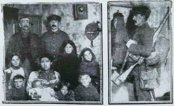 "NATIONAL HERO: Private Kenny's bravery was used as propaganda. These pictures were released to the newspapers by the Government with the caption: ""The example of the married man: Private Thomas Kenny, the Durham miner VC, photographed with his wife and seven children and his father just before he bids them goodbye to go back and spend his Christmas in the trenches"