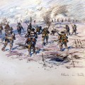 """TO THE TOP: A sketch by Capt Robert Mauchley entitled """"Attacking the Butte de Warlencourt"""""""
