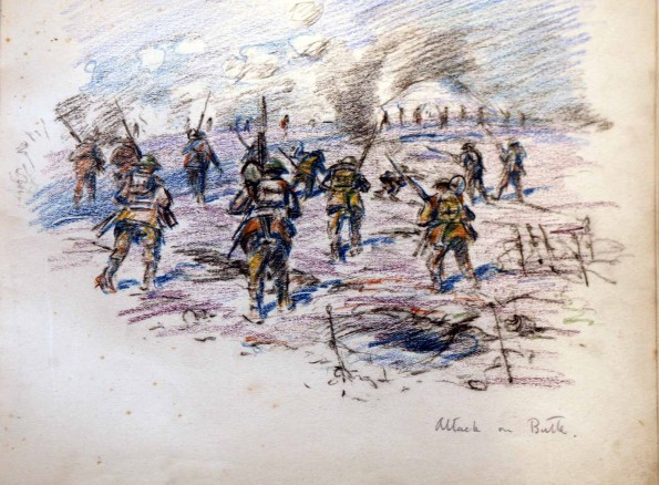 "TO THE TOP: A sketch by Capt Robert Mauchley entitled ""Attacking the Butte de Warlencourt"""