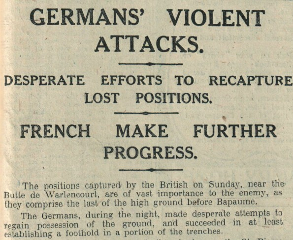 The Northern Echo, of November 7, 1916, giving the briefest of details about the loss of the Butte de Warlencourt