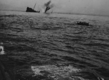 WATERY GRAVE: The sinking of an unknown Merchant Navy ship .Courtesy of the Imperial War Museum and Martin Spaldin