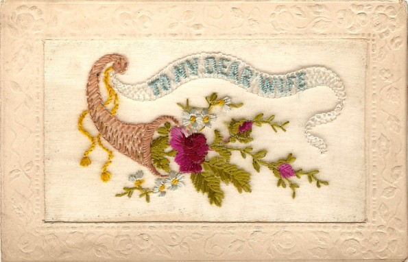 May 10, 1916: A silk postcard, probably handmade by French peasants who lived near the frontline, sent to Chilton