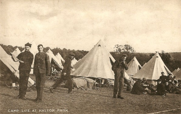GETTING READY FOR WAR: November 7, 1914. A postcard showing the Halton Camp training camp - Abe is complaining about his lack of tobacco