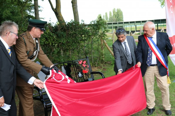 IN FRANCE: The Durham Pals memorial bench is unveiled by, from left, Coun Edward Bell, leader of Durham County Council, Hon Col James Ramsbotham, of The Rifles, Laurent Somon, leader of the Somme regional council, and Max Potie, mayor of Thiepval