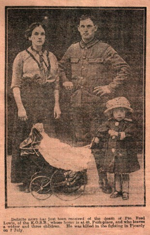 HERO DIES: The front page picture from the Evening Despatch of July 29, 1916, announcing the death of Pte Fred Lowis, who is pictured with his widow and child