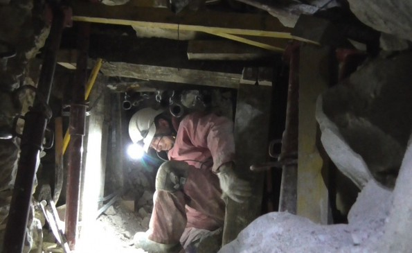 EXCAVATIONS: Paul Allison tunnellling through one of the shafts beneath the battlefield