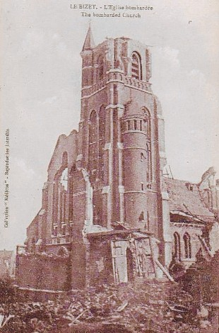 UNTIMELY END: Le Bizet church, on a souvenir First World War postcard. Here George stumbled over a dead French peasant