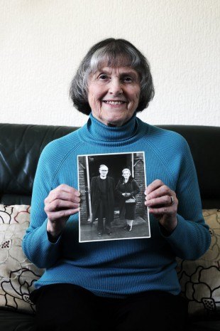 TRAIN ORDEAL: Ann Oliver of Sedgefield with a picture of her aunt, Mary Stainthorpe, who was stuck on a school train in the middle of the Hartlepool bombardment