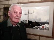 Artist Bob Ord and his painting in memory of soldiers shot at dawn
