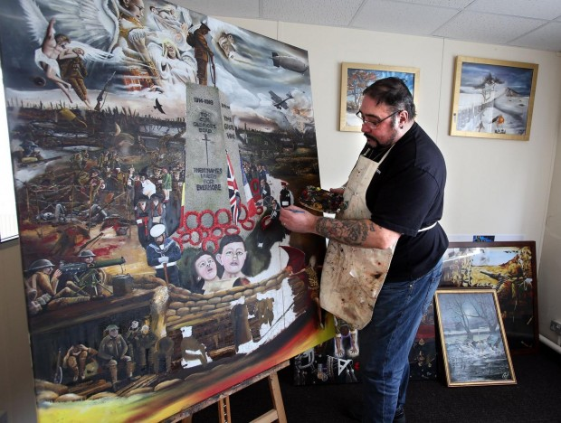 John Palliser works on his First World War commemorative painting in his Newton Aycliffe studio