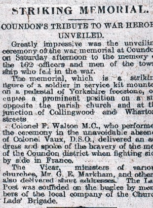 The Northern Echo's report of the unveiling in 1921