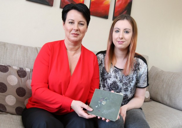 Joanne Grylls, left, and Jade Dawson have discovered a Forget Me Not book written by soldiers in WWI