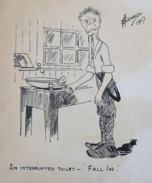ART SKILLS A cartoon dated 1917 showing a soldier being called to report for duty while not yet washed and dressed