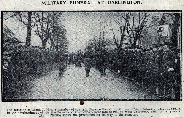 FITTING TRIBUTE: A photograph from The Northern Echo of December 21, 1914, showing Cpl Liddle's funeral
