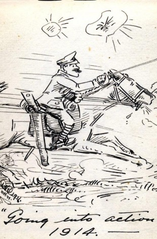 """EARLY OPTIMISM: """"Going into action - 1914"""""""